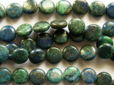 Azurite Round Tabular Gemstone Beads 11mm (GS2146)