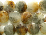 Rusty Quartz Round Tabular Gemstone Beads 25mm (GS2253)