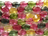 Multi-Color Quartz Oval Twist Gemstone Beads 12mm (GS2279)