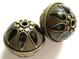 Large Brass & Black Enamel Bead 28mm (MB10)