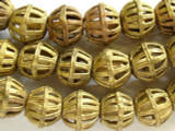Ornate Brass Bicone Beads 22mm - Ghana (ME260)
