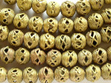 Ornate Brass Round Beads 12-14mm - Ghana (ME261)
