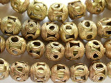Ornate Brass Round Beads 14mm - Ghana (ME268)