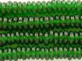 Green Recycled Glass Disc Beads 10-12mm - Africa (RG473)