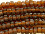 Brown Tulip Recycled Glass Beads 9-12mm - Africa (RG487)
