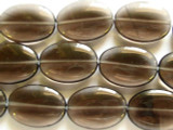 Smoky Quartz Oval Tabular Gemstone Beads 25mm (GS2345)