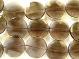 Smoky Quartz Faceted Round Tabular Gemstone Beads 25mm (GS2349)