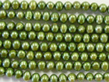 Olive Green Metallic Potato Pearl Beads 5-6mm (PRL18)