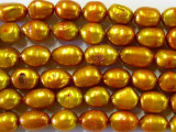 Rusty Gold Metallic Irregular Oval Pearl Beads 10mm (PRL39)