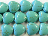 Turquoise Magnesite Heart Beads 20mm (GS2429)