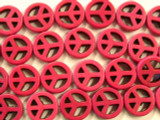 Fuchsia Howlite Peace Sign Gemstone Beads 15mm (GS2440)