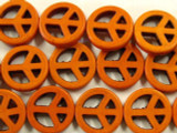 Orange Howlite Peace Sign Gemstone Beads 20mm (GS2444)