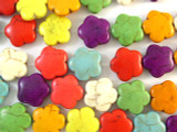 Multi-Color Magnesite Flower Gemstone Beads 15mm (GS2445)