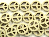 Natural Howlite Peace Sign Beads 20mm (GS2452)