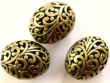 Brass Pewter Bead - Oval 20mm (PB262)