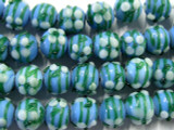 Blue & Green Lampwork Glass Beads with Flowers 10mm (LW1370)