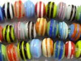 Multi-Color Striped Glass 15mm - Large Hole Beads (LW1377)