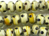 Polka Dot Lampwork Glass Beads 13mm - Large Hole (LW1378)