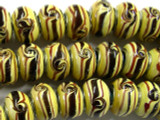 Tan & Brown Lampwork Glass Beads 14mm - Large Hole (LW1380)