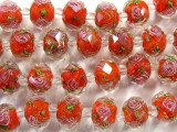 Red w/Pink Roses Faceted Glass Beads 12mm (CRY148)