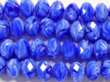 Blue Marbled Faceted Glass Beads 12mm (CRY159)