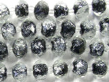 Clear w/Black Foil Faceted Glass Beads 12mm (CRY162)