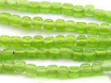 Lime Green Triangular Glass Beads 5-6mm (JV600)