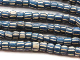 Navy Blue & White Graduated Glass Beads 4-6mm (JV625)