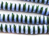 Green, Blue & White Rondelle Glass Beads 11mm (JV689)