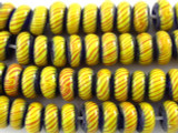 Yellow, Blue & Red Rondelle Glass Beads 10mm (JV691)