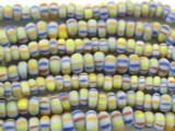 Light Blue w/Stripes Graduated Glass Beads 4-8mm (JV635)