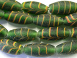 Green Glass Feather Beads - African (AT10)