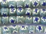 Gray Blue w/Flowers Sandcast Glass Beads 9-10mm (SC824)