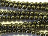 Iron Pyrite Round Gemstone Beads 6mm (GS2541)