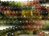 Tourmaline Faceted Rondelle Gemstone Beads 6mm (GS2599)
