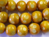 Gold Polka Dot Round Wood Beads 19mm - Indonesia (WD211)