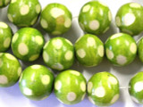 Lime Green Polka Dot Round Wood Beads 19mm (WD214)