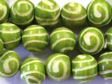Lime Green Swirl Round Wood Beads 19mm - Indonesia (WD217)