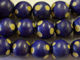 Purple Polka Dot Round Wood Beads 19mm - Indonesia (WD220)