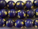 Purple Polka Dot Round Wood Beads 19mm (WD220)