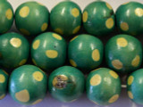 Turquoise Polka Dot Round Wood Beads 19mm - Indonesia (WD221)