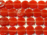 Cherry Red Round Tabular Recycled Glass Beads - Indonesia 14mm (RG498)