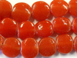 Cherry Red Round Tabular Recycled Glass Beads - Indonesia 16mm (RG503)