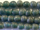 Dark Aqua Round Recycled Glass Beads 14-16mm - Indonesia (RG520)