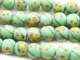 Mint Green w/Flowers Glass Beads 9-10mm (JV697)