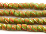 Lime Green Striped Glass Beads 6-11mm (JV748)