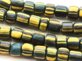 Dark Teal w/Yellow Glass Beads 7-9mm (JV752)