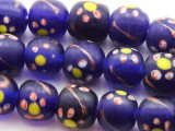 Cobalt w/Flowers Glass Beads 9-10mm (JV699)