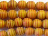 Orange w/Stripes Glass Beads 9-12mm (JV700)