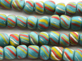 Light Blue Stripes Glass Beads 5-9mm (JV754)
